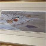 "RICHARD ROBJENT (BORN 1937, BRITISH) ""SHOVELERS"" PAIR OF WATERCOLOURS, BOTH SIGNED"