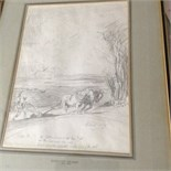 AFTER EDWARD SEAGO, BEARS SIGNATURE, PENCIL DRAWING, PLOUGHING SCENE 14 1/2 X 10ins