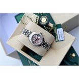 ♥ GORGEOUS ♥ Rolex *Diamond Encrusted* Pink Pearl Lady DateJust