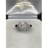 1.50ct DIAMOND SOLITAIRE SET IN WHITE METAL MARKED 750 - TESTED AS 18ct GOLD