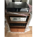 HI FI SYSTEM INC ROTEL TURNTABLE & ROTEL STEREO RECEIVER + TAPE PLAYER & CABINET