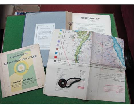 A WWII Period RAF Navigators Badge, RAF Air Crew lecture notes, observers planisphere of star navigation, a map of Middle Eas