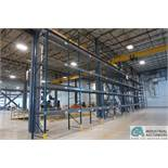 SECTIONS 9' W X 4' D X 21' APPROX. ADJUSTABLE BEAM PALLET RACKS ** BUYER MUST CUT BOLTS FLUSH WITH F