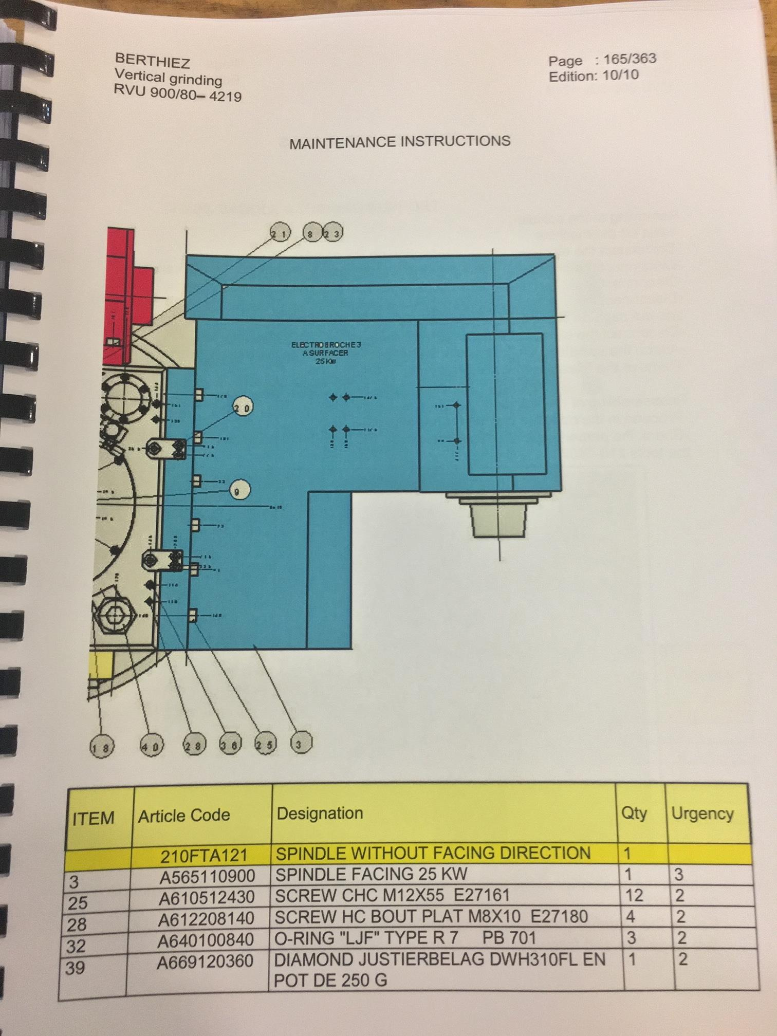 BERTHIEZ MODEL RVU 900/80 ID/OD, WITH TURNING, VERTICAL CNC GRINDER; S/N 4219, 84OD SIEMENS CONTROL - Image 32 of 33