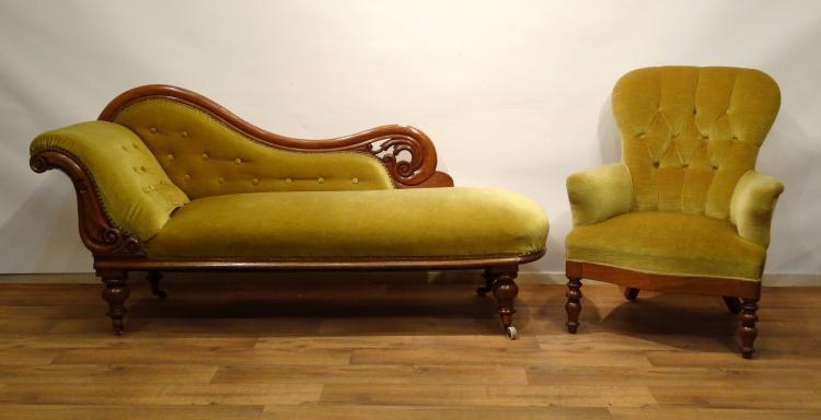 Bank en fauteuil mahonie biedermeier chaise longue met for Chaise longue barok