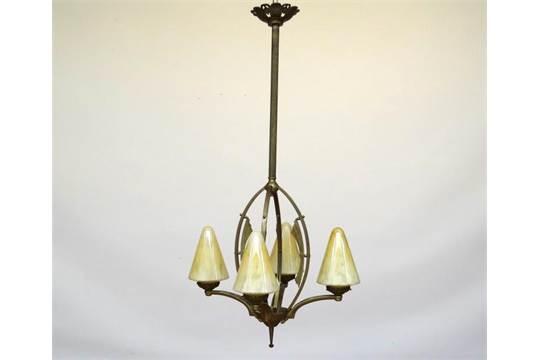 Art Deco Hanglamp : Art deco lamp art deco hanglamp met koperen stam en 4 gekleurde