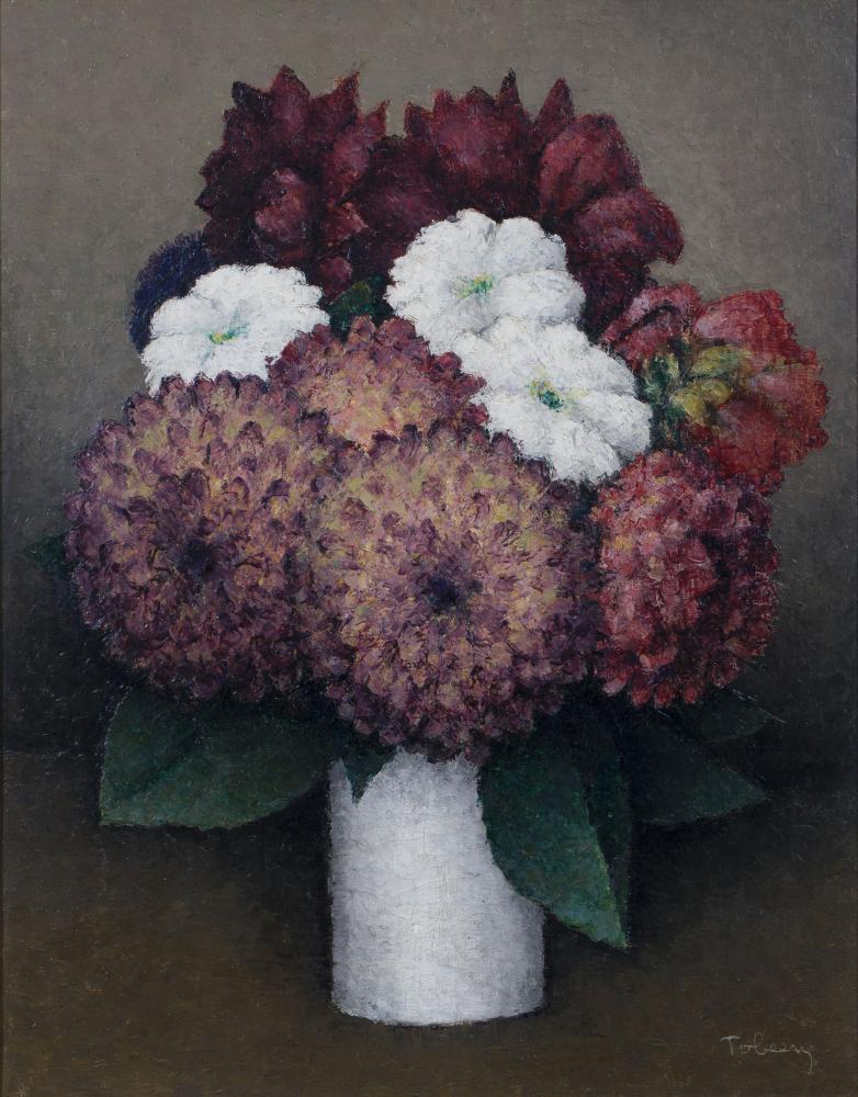 Tobeen, doek, bloemstilleven doek, 37 x 29, dahlia's, gesigneerd Tobeen (=Felix Eli Tobeen, 1880-