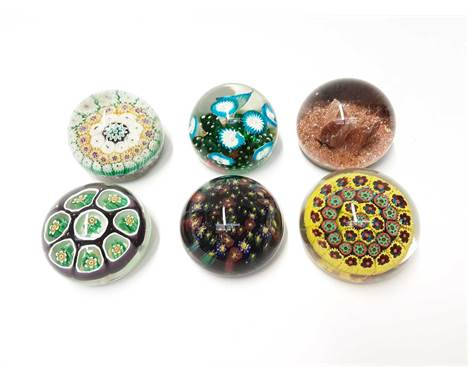Six various Murano Art Glass Paperweights some with original stickers