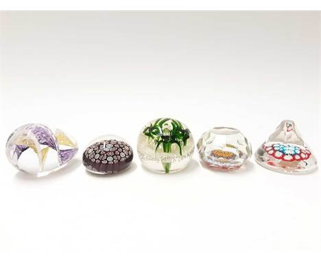 Five various Murano Art Glass Paperweights, some with original stickers (5)