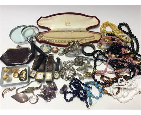 Group vintage costume jewellery, Miracle scarf ring, silver mounted glass swan dish, silver napkin ring, silver locket and le