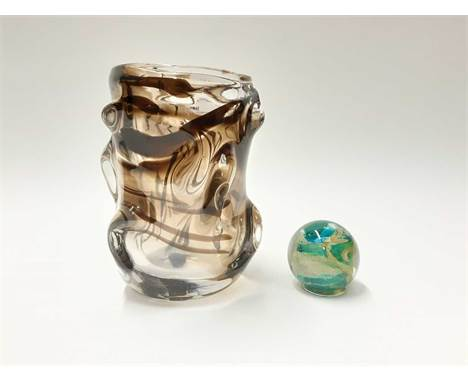 Whitefriars streaky knobbly vase, 18.5cm high and a Michael Harris Isle of Wight paperweight (2)