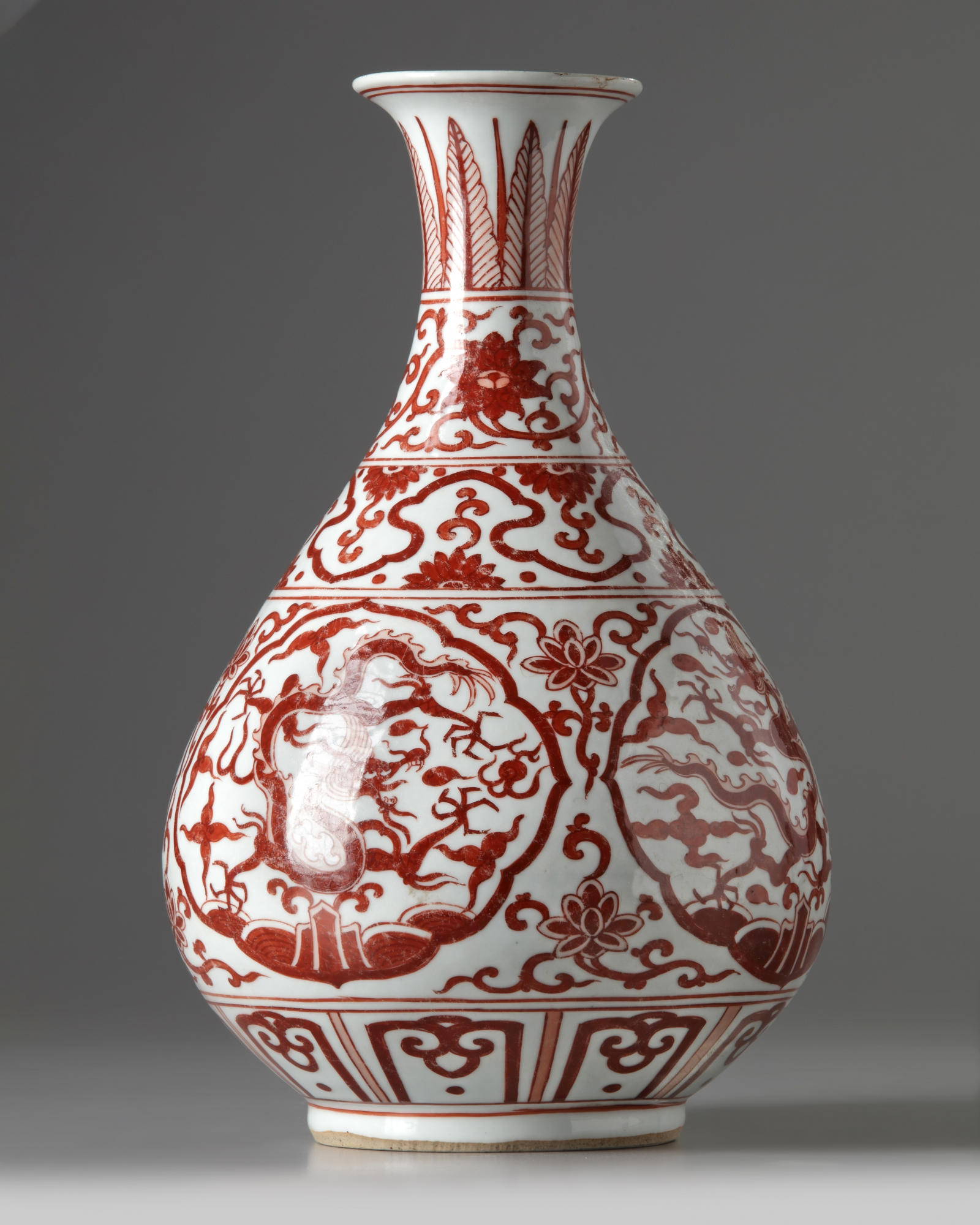 Lot 15 - A Chinese iron-red-decorated pear-shaped vase, yuhuchunping