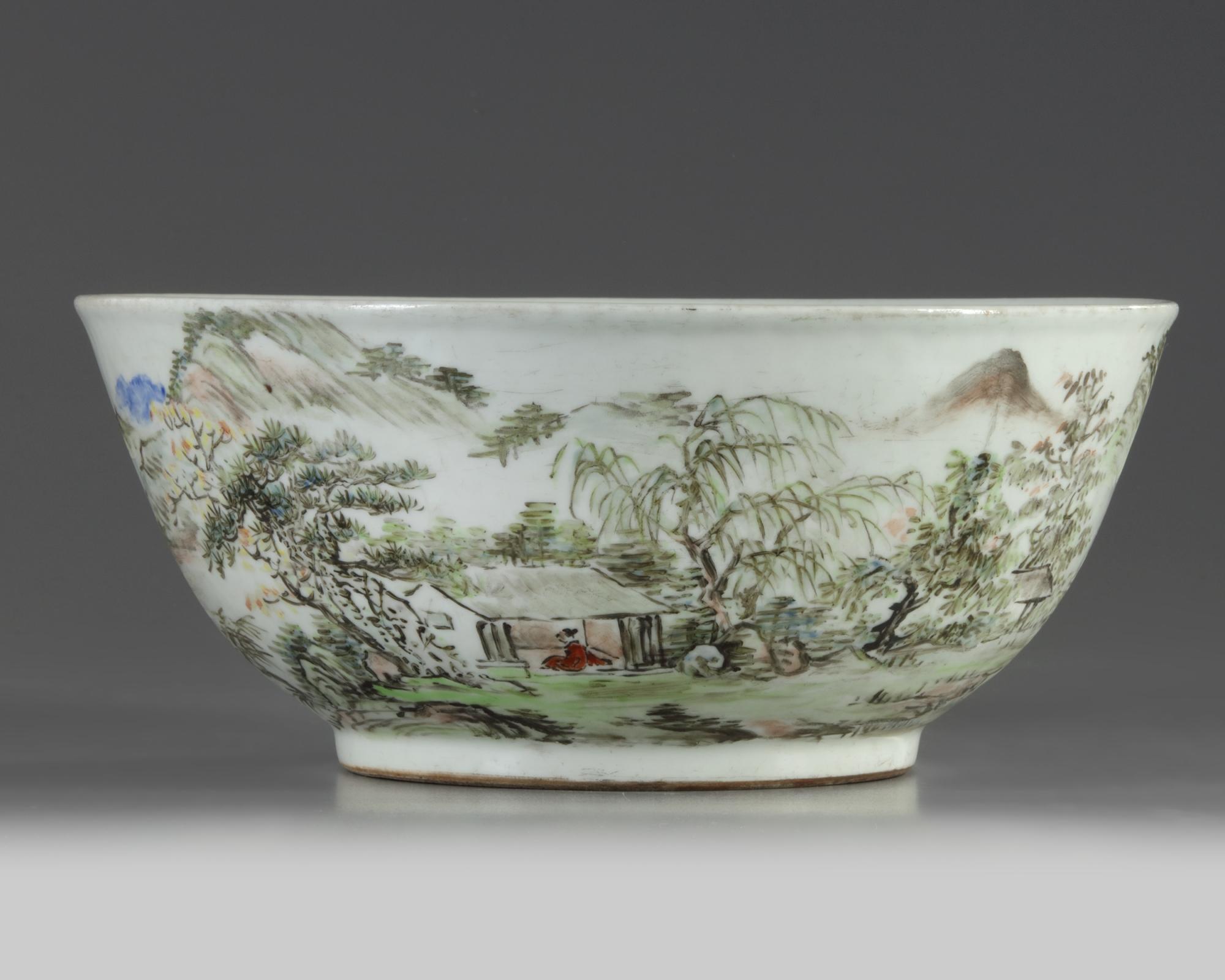 Lot 45 - A large Chinese Qianjiang-style bowl