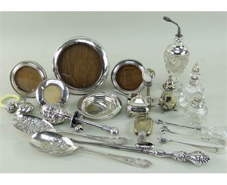 ASSORTED SILVER & PLATED COLLECTIBLES, including silver topped cut glass dressing table accessories, four silver photo fr