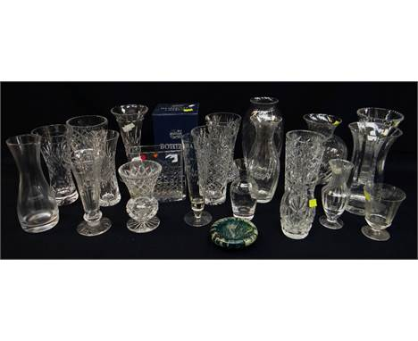 ASSORTED CUT GLASS VASES including Orrefors slab vase ETC