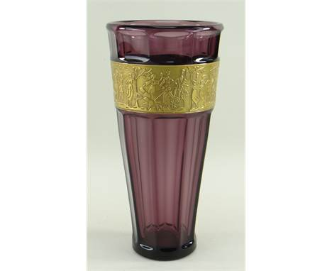 GERMAN WALTHER & SOHNE AMETHYST GLASS VASE, c. 1970s, tapering faceted form with gilt frieze of stylised classical figure