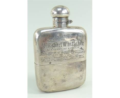 VICTORIAN SILVER HIP FLASK with presentation engraving 'Presented to Mr Robert Whittaker as a token of esteem from a number o