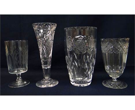 FOUR GOOD CUT GLASS VASES, comprising a Regency strawberry cut glass celery vase, Victorian celery vase, trumpet vase possibl
