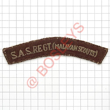 Lot 535 - Badge. S.A.S. REGT. (MALAYAN SCOUTS) rare cloth shoulder title. Locally made blue embroidered on