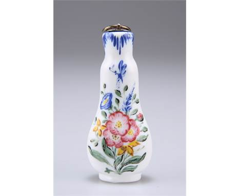AN OPAQUE WHITE GLASS SCENT FLASK, LAST QUARTER OF 18TH CENTURY, painted with a winged insect above a floral bouquet, the rev