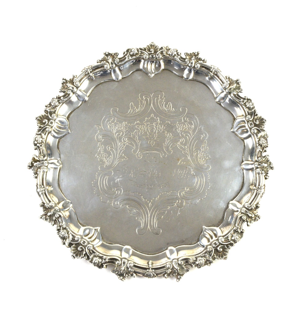 Lot 2037A - AMENDED DESCRIPTION William IV Scottish silver salver, by James McKay, Edinburgh 1831, the shaped