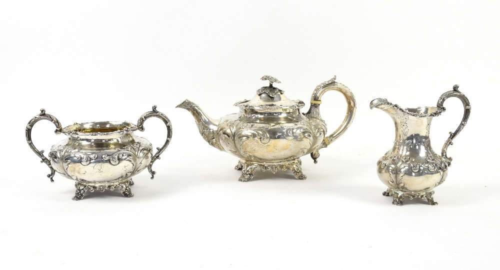 Lot 2036A - Victorian silver three-piece tea service, by Joseph Angell I & Joseph Angell II, London 1841,