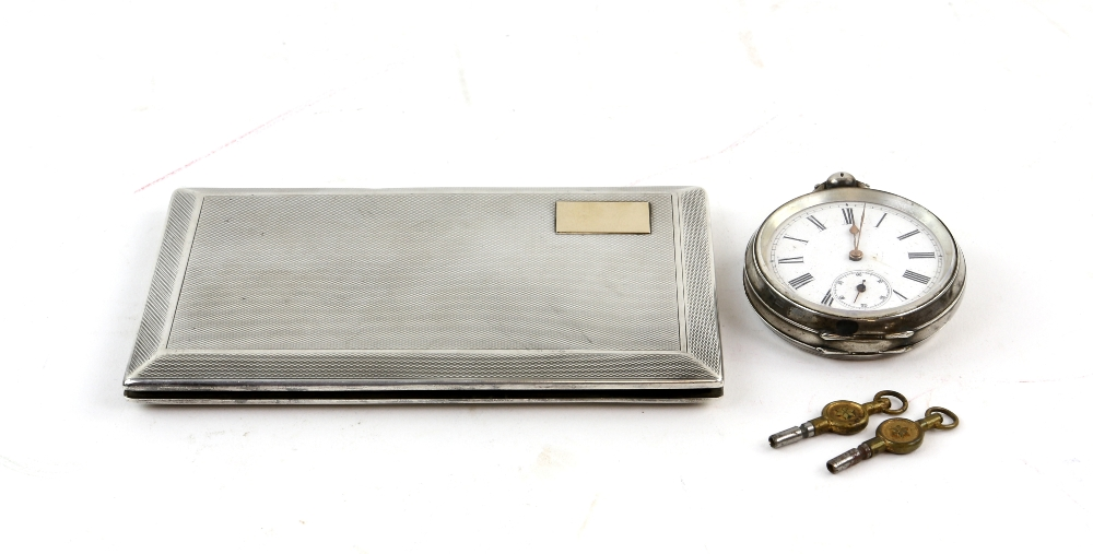 Lot 2035 - Silver cigarette case by Goldsmiths and Silversmiths Co. Ltd. London 1930 6.25 oz, 194gm and a Swiss