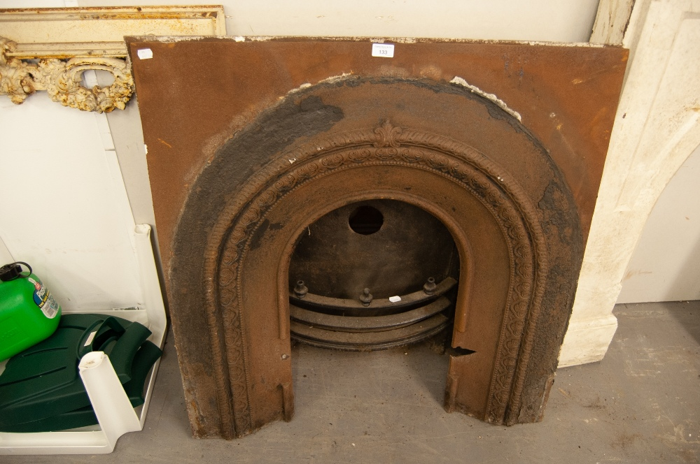 """Lot 133 - PAIR OF LATE VICTORIAN CAST IRON FIRE SURROUNDS WITH ARCHED RECESSES, ONE WITH GRATE IN SITU, 38"""" ("""