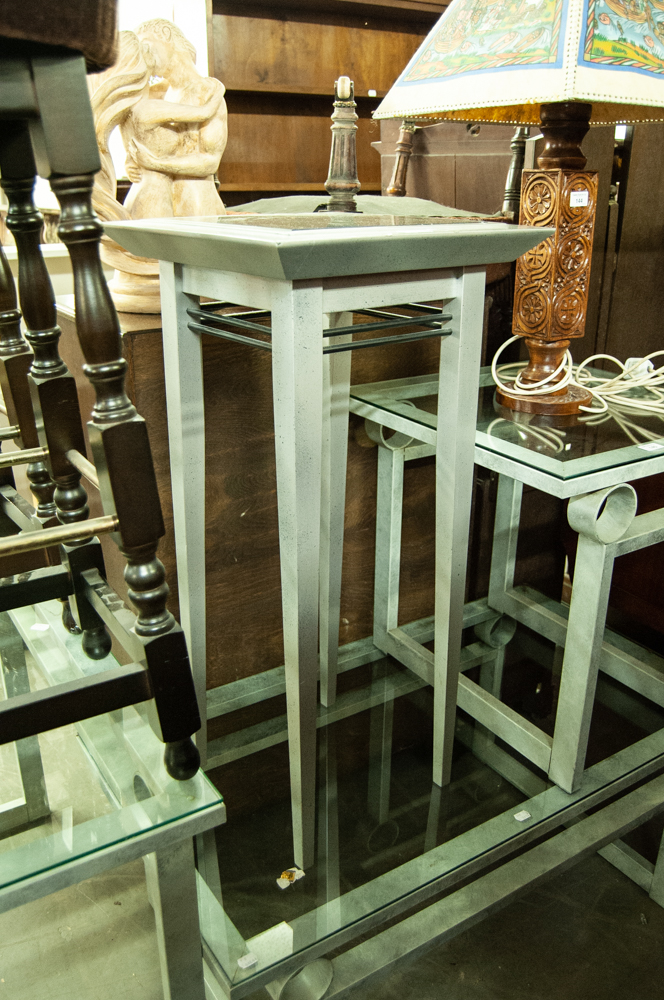 Lot 146 - GREY FINISH WOODEN LAMP TABLE WITH INSET MARBLE TOP