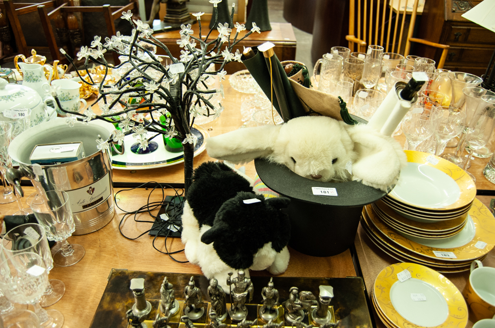 Lot 181 - TREE PATTERN BAR TOP LAMP WITH FAIRY LIGHTS; A RABBIT IN TOP HAT SOFT TOY; AN ORIENTAL WALL SCROLL