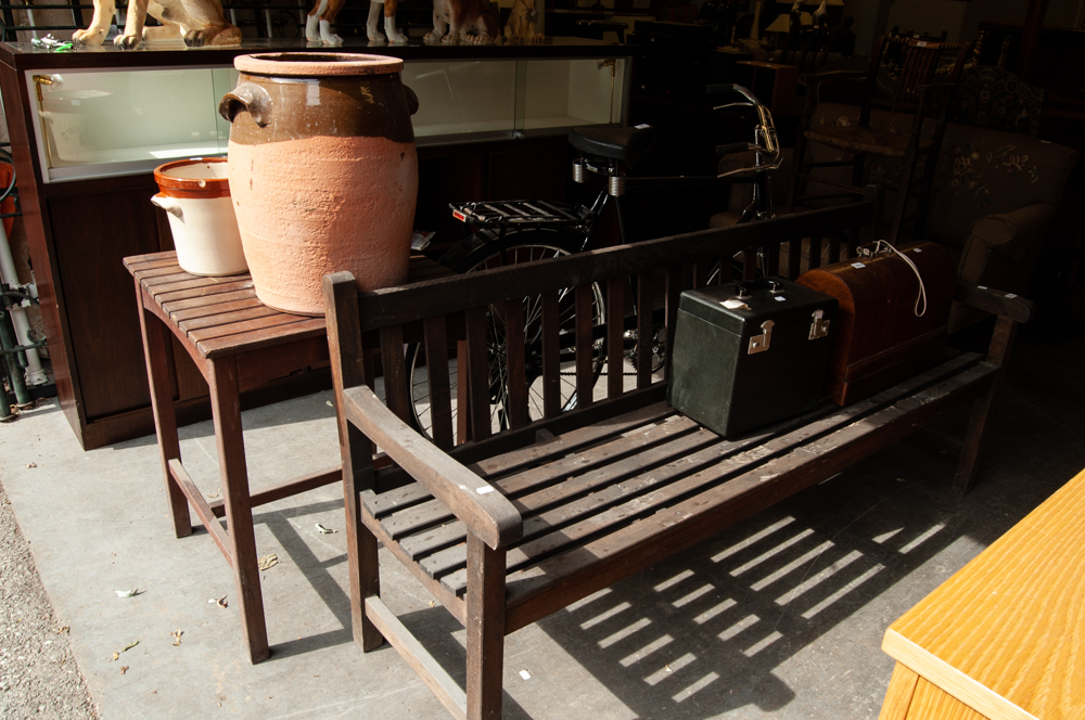 Lot 198 - LARGE WOODEN GARDEN BENCH AND A SIMILAR WOODEN GARDEN TABLE (2)