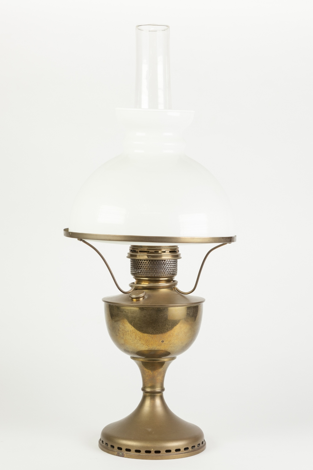 Lot 158 - BRASS AND WHITE GLASS OIL TABLE LAMP, of typical form with domed shade and clear glass chimney,