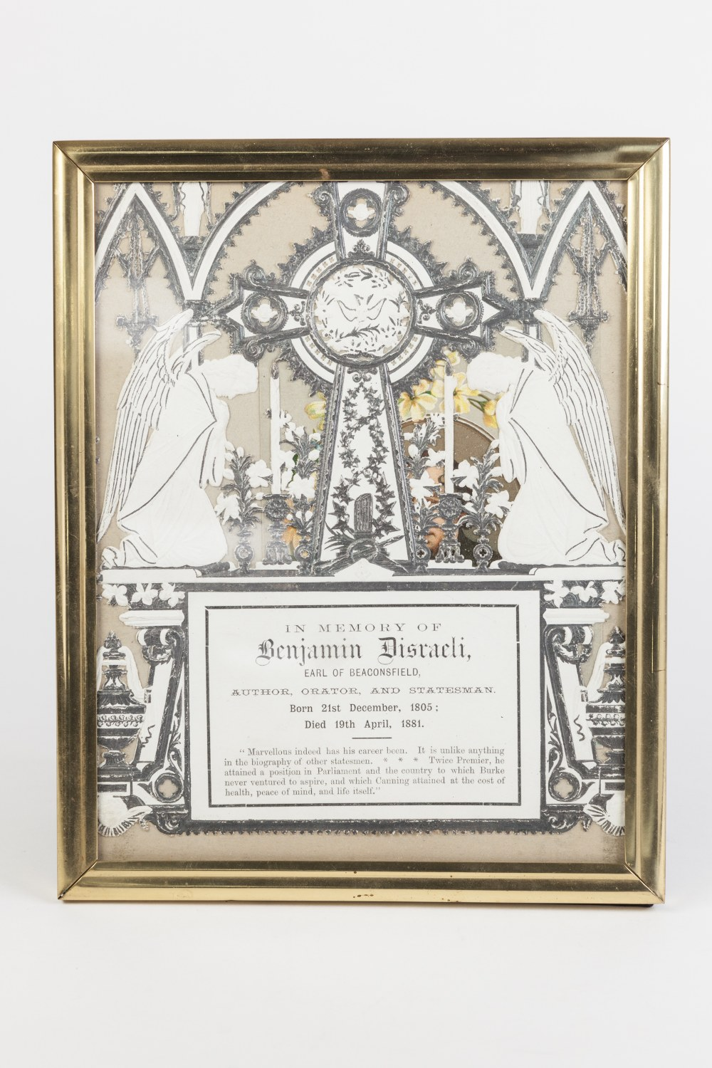 Lot 311 - VICTORIAN CUT PAPER TRIBUTE TO BENJAMIN DISRAELI, 1805-1881, with photographic portrait, framed
