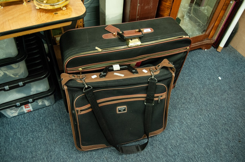 Lot 364 - 'LARK' CANVAS FABRIC AND BROWN LEATHER LARGE SUITCASE WITH NUMERICAL LOCK AND MATCHING SHOULDER