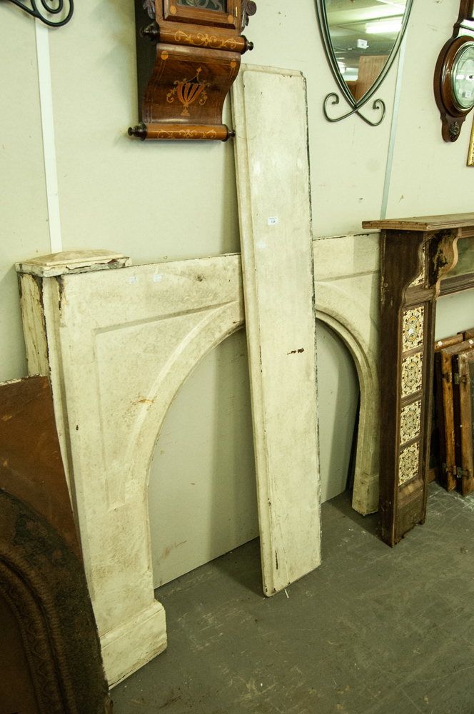 "Lot 134 - LATE VICTORIAN/EDWARDIAN WHITE PAINTED SLATE FIRE SURROUND WITH ARCHED RECESS, 44 3/4"" (114CM) HIGH,"