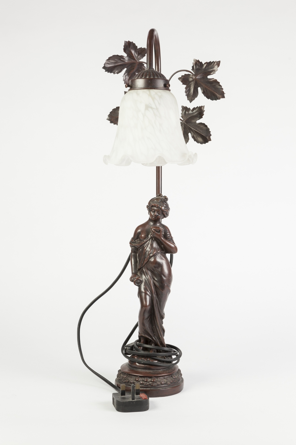 Lot 313 - MODERN PATINATED METAL FIGURAL ELECTRIC TABLE LAMP, modelled as a semi naked female, on a circular