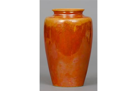 A Ruskin Pottery Vase With Orange Lustre Glaze Impressed Mark