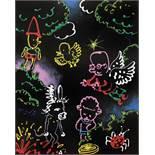MOYA Patrick (1955) Nuit au Moya Land Acrylic on canvas - Signed lower left 46 x 38 cm -