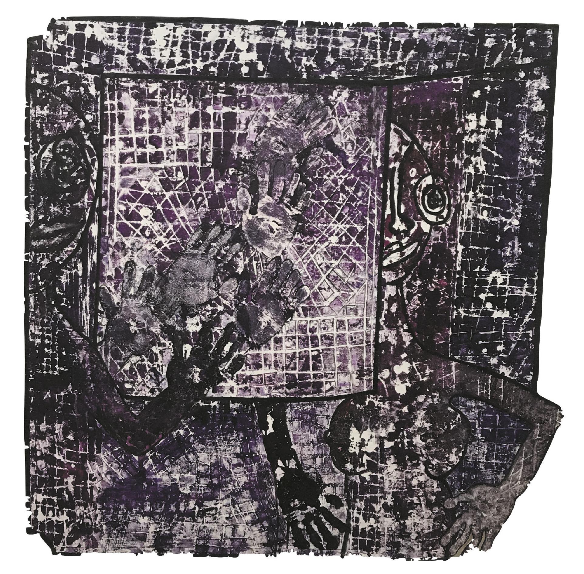 Laurent Jean-Jacques (1943) L'intranquilité 6, 2015 - Mixed media - 109 x 110 cm -