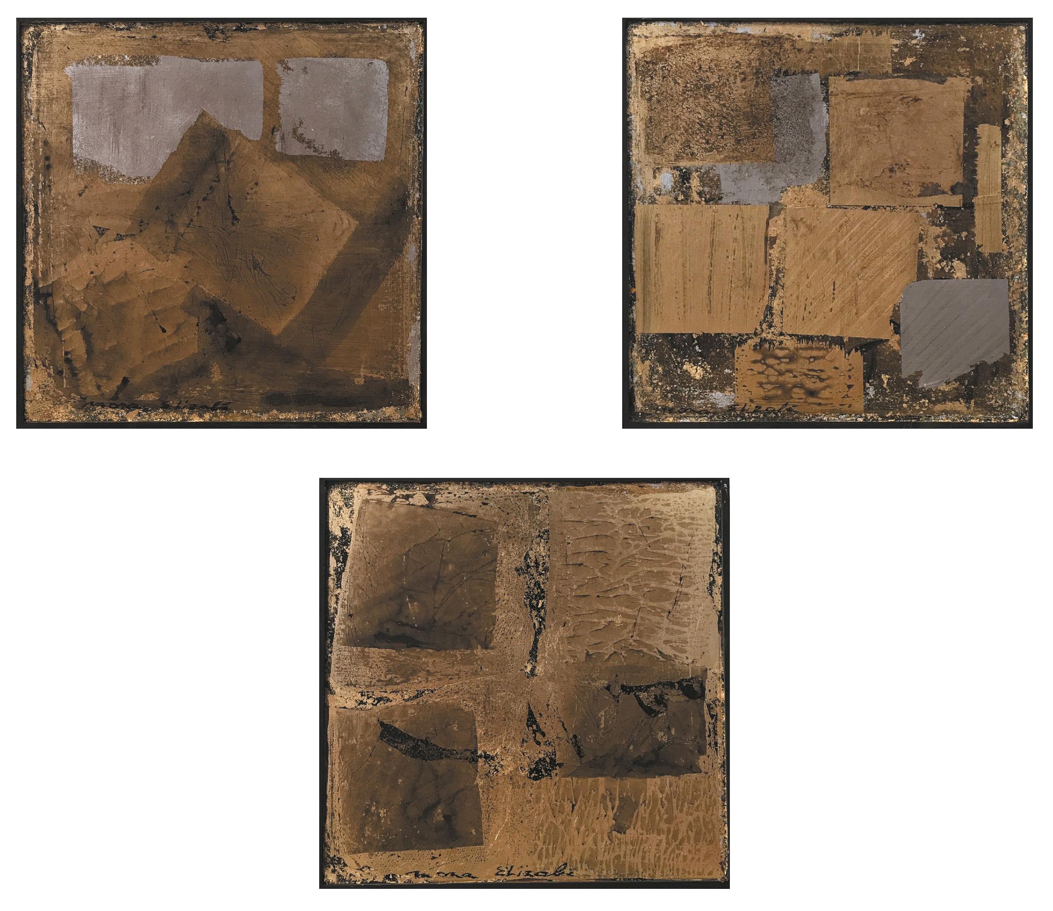 Mona Elizabè (XXe-XXIe ) Untited, 2018 - Golden and silver leaf on canvas - 30 x 40 [...]
