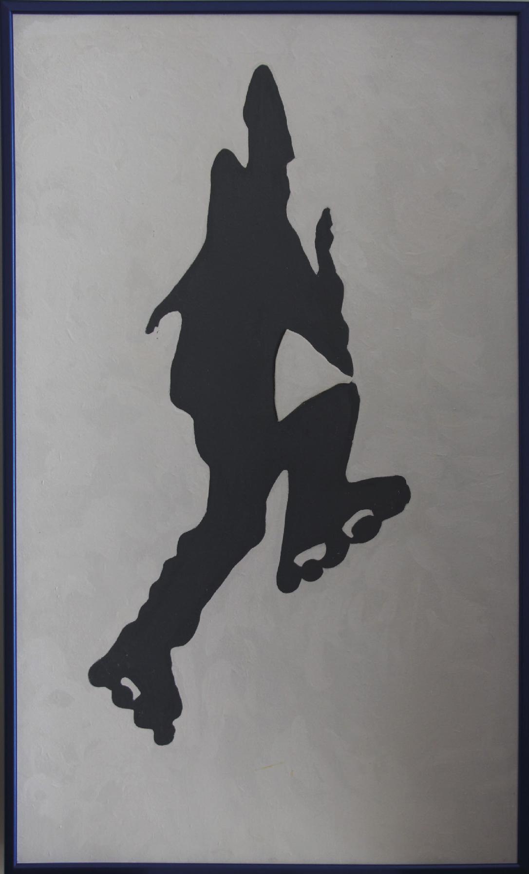 Mas Jean (1946) L'enfant aux rollers - Acrylic on panel - 97 x 58 cm -