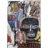 Liccia Dominique (1953) No torture - Mixed media - Signed on the lower left - 86 x 60 [...]