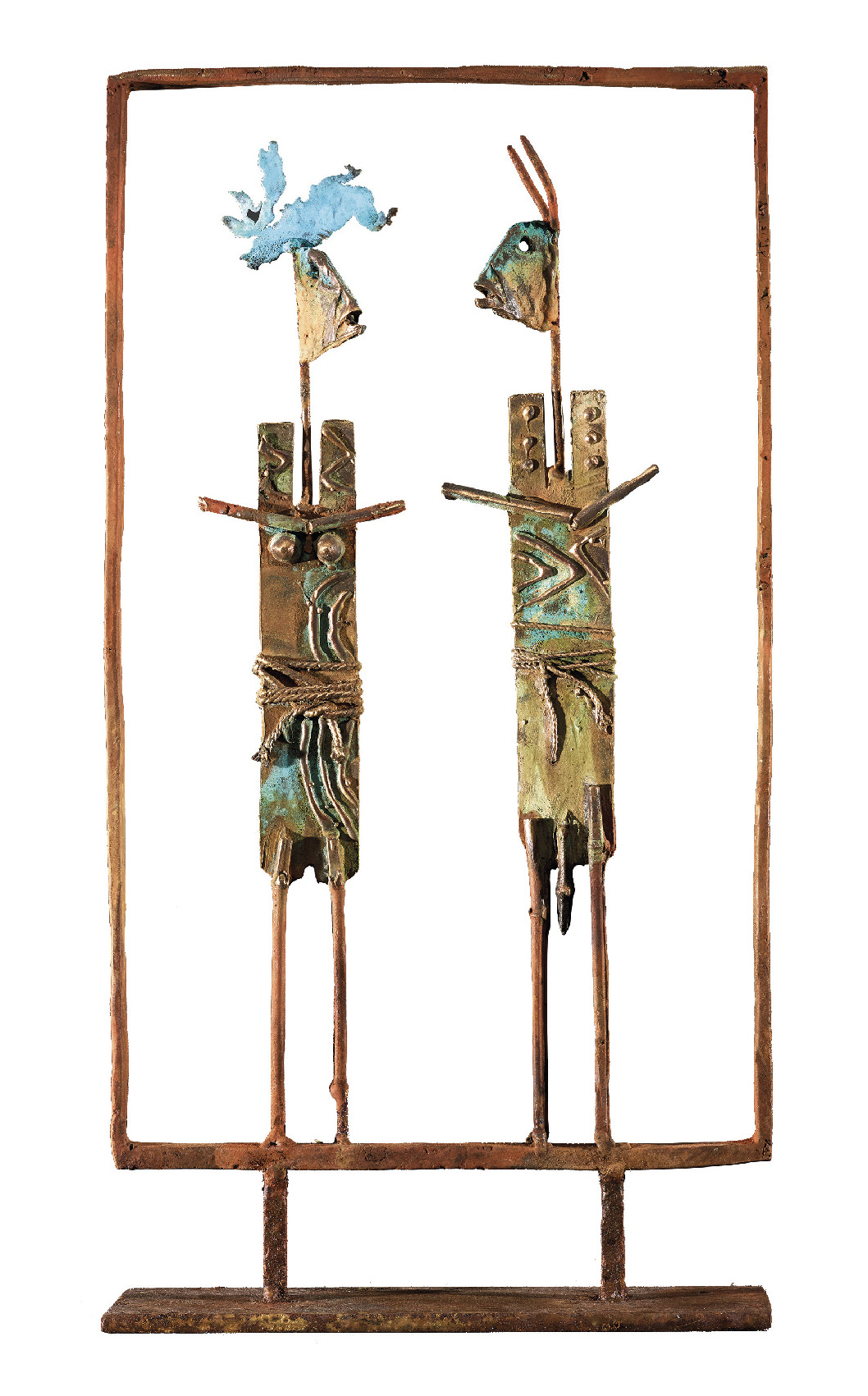 Giorgi Claude (1954) Couple Dogon, 2018 - Bronze - H. 50 cm L. 30 cm l. 18 cm -