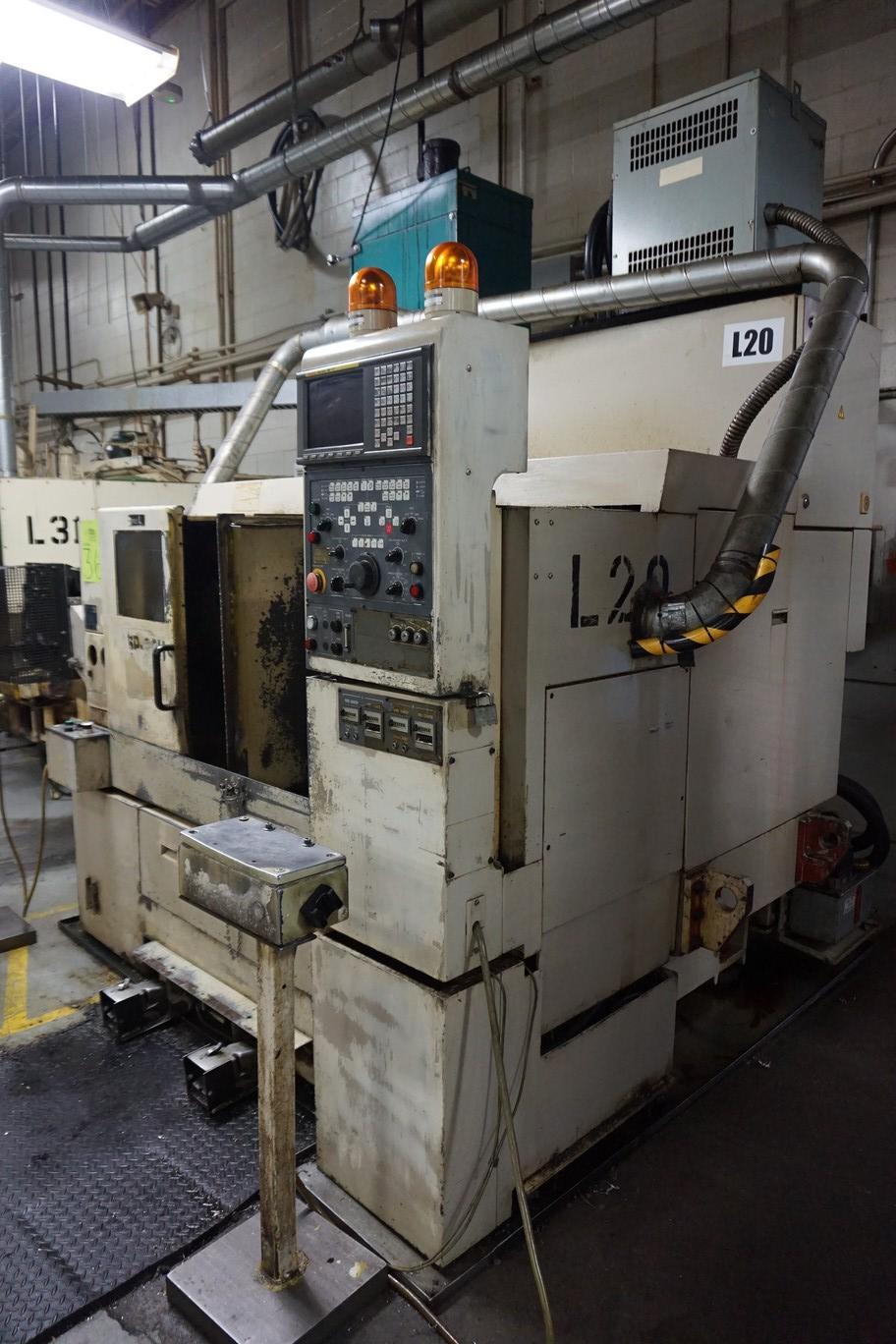 Okuma-Howa Model 2SP-20H CNC Lathe, c/w Fanuc Series 18-TT Controller, Chip Conveyor, Transformer - Image 7 of 7