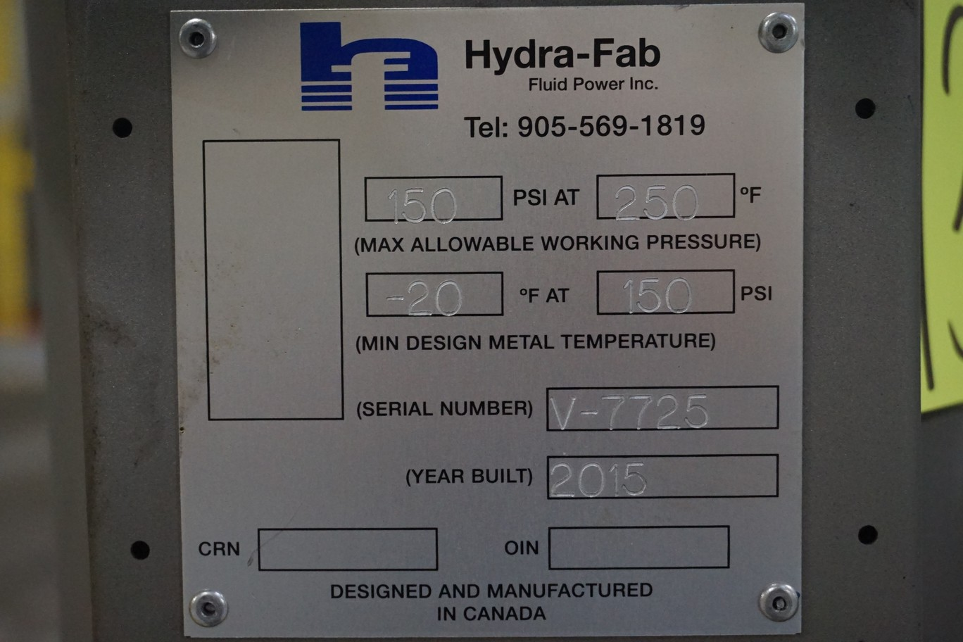 Hydra-Fab Fluid Power, 150 Psi Cylinder - Image 2 of 2