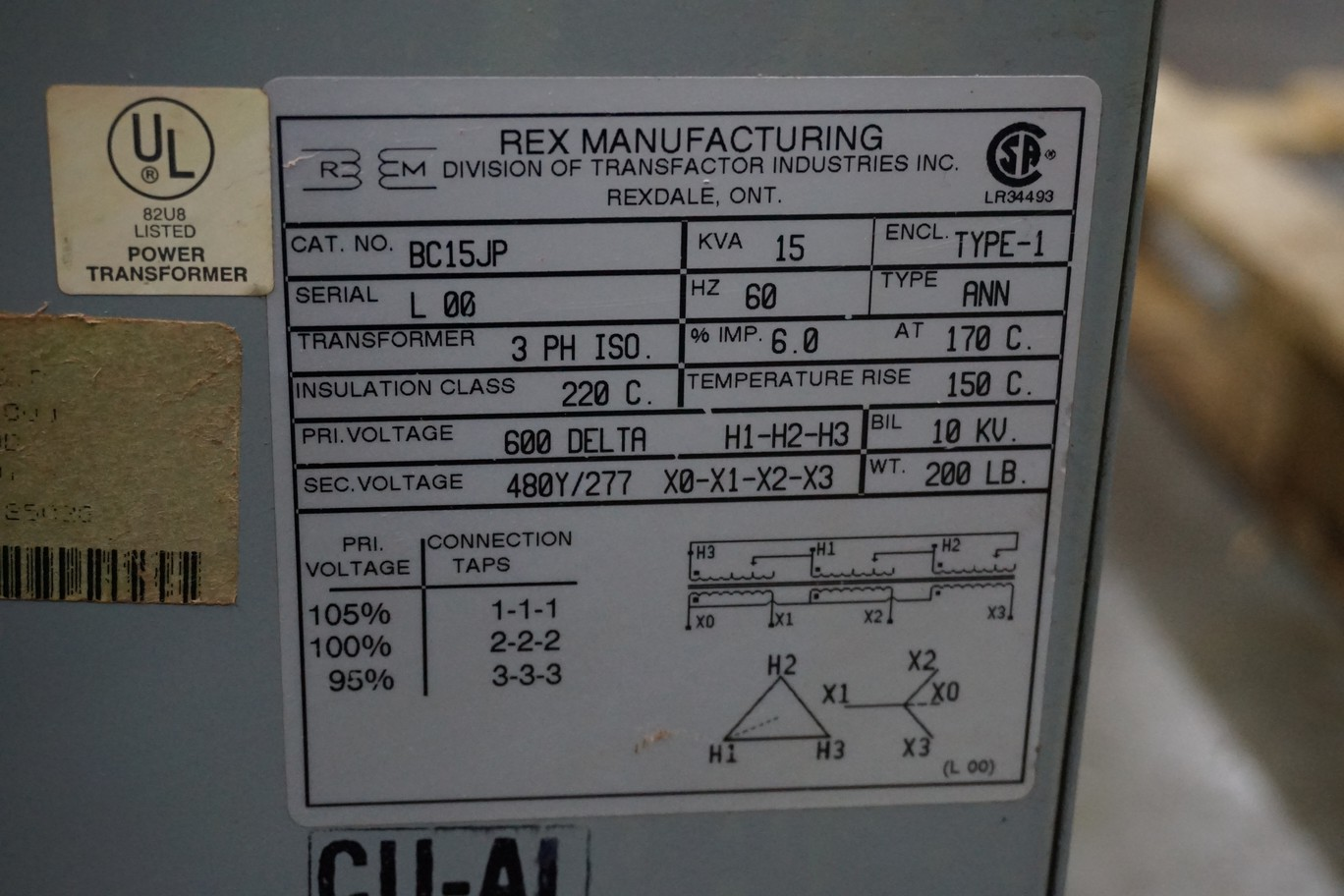 Rex Model BC15JP 600V, 15 Kva Transformer - Image 2 of 2