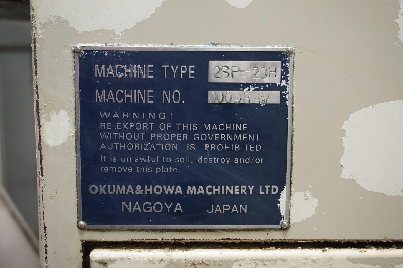 Okuma-Howa Model 2SP-20H CNC Lathe, c/w Fanuc Series 18-TT Controller, Chip Conveyor, Transformer - Image 4 of 7