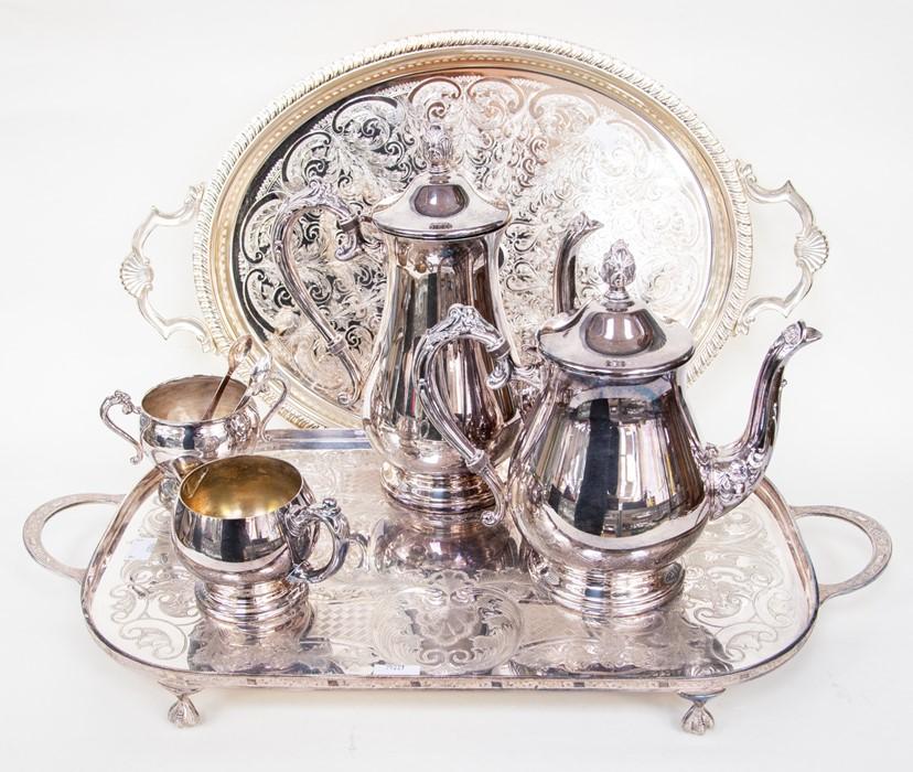 Lot 6 - Two trays, coffee pot, tea pot, cream jug, sugar bowl and tongs (6)