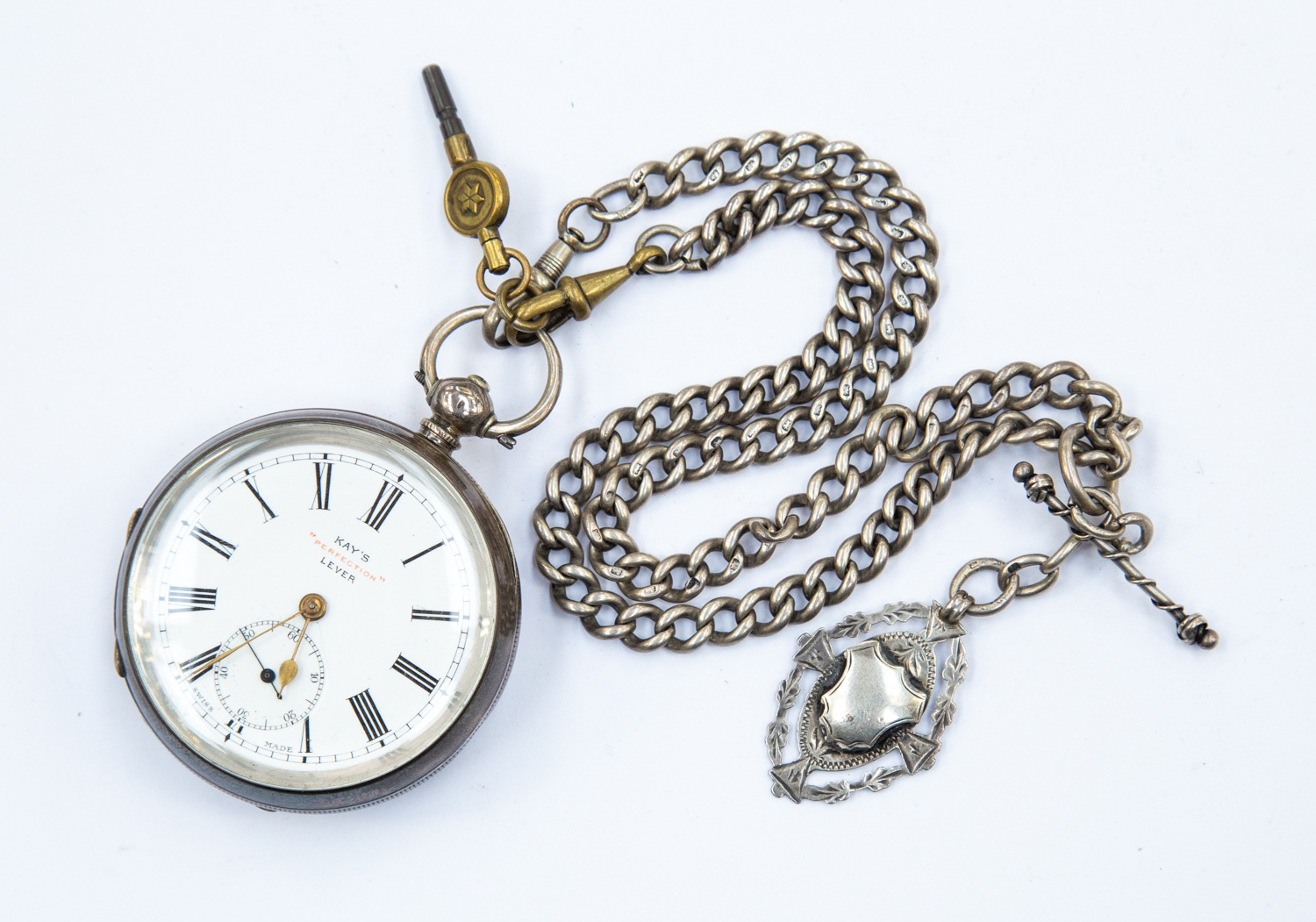 Lot 407 - A late 19th Century gents pocket watch, chain, medallion and key, KAY's Perfection lever