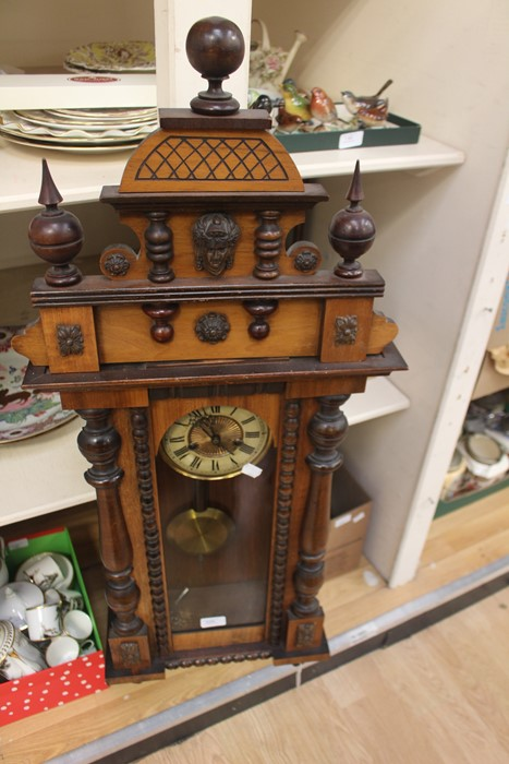 Lot 4005 - A 19th Century Vienna style wall clock, together with a Smiths Westminster Chiming mantel clock,